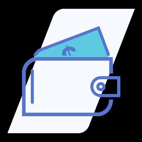 Ícone que representa uma carteira com uma cédula de dinheiro saindo dela