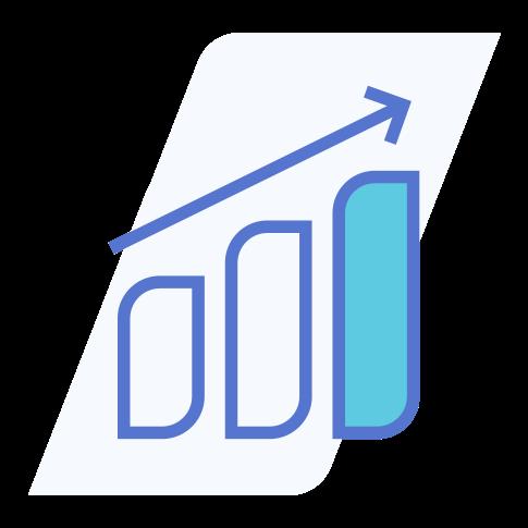 ícone que representa um gráfico com três colunas em ascensão